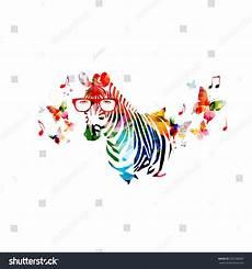 Colorful Zebra Design Colorful Zebra Design With Butterflies Stock Vector