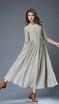 casual linen dress pale gray everyday comfortable fit