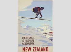 Winter Sports at Tongariro National Park Vintage NZ Poster
