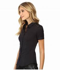 sleeve button up lyst versace sleeve button up blouse in black