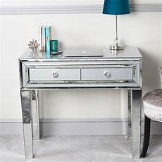 grey glass mirrored 2 drawer console table
