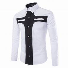 Designer Shirt Pattern 2017 Men Shirt Long Sleeve 2015 New Fashion Patchwork