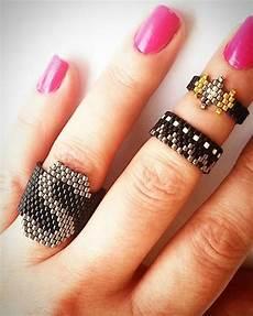 silver gold black miyuki beaded rings set letter s