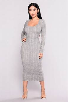sharice ribbed knit dress grey