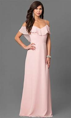 cold shoulder pink prom dress with ruffle