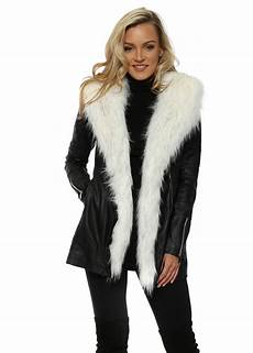 coats for black faux leather coat with white fur flamant