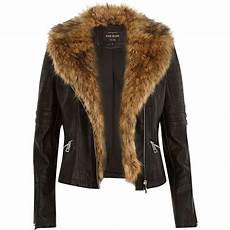 coats with river island black leather look faux fur biker jacket lyst