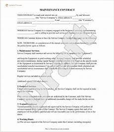 Maintenance Contract Sample 5 Free Maintenance Contracts Samples And Templates