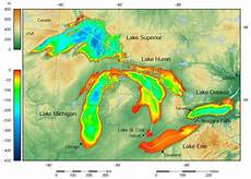 1024 X 731 Great Lakes Depth Map Mapporn
