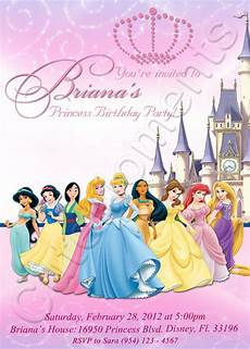Princess Disney Invitations Disney Princess Personalized Digital Invitation By Cutemoments
