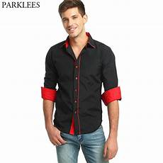 mens button shirts sleeve arm black shirt 2017 patchwork shirt casual button