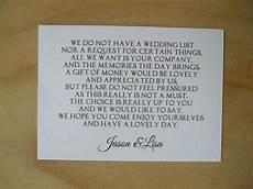 Wedding List Poems Wedding Money Request Poem Cards Honeymoon Wish List Ebay