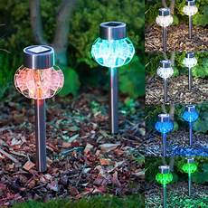 Solar Powered Stake Lights X 2 4 6 8 Set Of Solar Powered Led Stainless Steel Stake