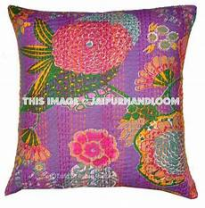 indian kantha pillow covers purple kantha cushions