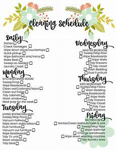 Cleaning House Schedule Chart Cleaning Schedule Daily Weekly Large Family Printable