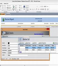 Ms Access Database Template Ms Access Templates Book Library Database Examples