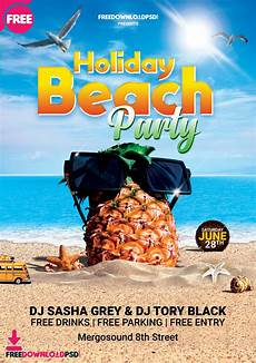 Beach Party Flyer Template Free Free Holiday Beach Party Flyer Psd Freedownloadpsd Com