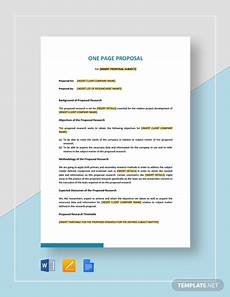 One Page Proposal Template Free 6 How To Write A One Page Proposals Templates Pdf Word