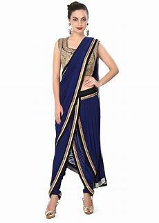 Dhoti Saree Design Buy Navy Blue Dhoti Saree Gown Matched With Embroidered