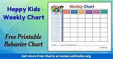 Free Printable Behavior Charts Free Weekly Behavior Chart Happy Kids Acn Latitudes