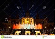 Barcelona Night Light Show Night View Of Magic Fountain Editorial Stock Photo Image