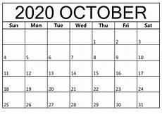 Free Calendars 2020 Printable October 2020 Printable Calendar Template Printable Calendar
