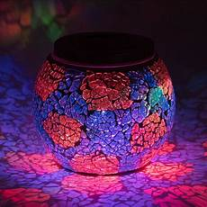 Solar Powered Mosaic Lights 4 Inch Solar Powered Mosaic Multi Color Shattered Glass