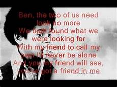 Ben Und Malvorlagen Lyrics Michael Jackson Ben Lyrics On Screen