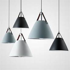 Metal Cone Pendant Light Nordic Style Metal Cone Shade Leather Ceiling Pendant