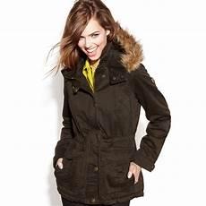 guess winter coats dane guess coat hooded fauxfur trim parka in lyst