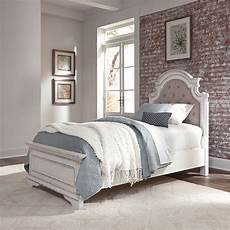 le grand size upholstered bed in antique white