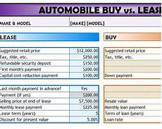 Buy Versus Lease Car Calculator Automobile Buy Vs Lease Template My Excel Templates