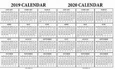 One Page Yearly Calendar 2020 2019 2020 Calendar On One Page Calendar Inspiration Design