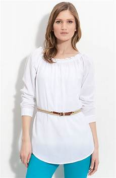 white peasant blouse michael michael kors belted peasant blouse in white lyst