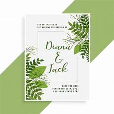 Invitation Front Page Design Wedding Invitation Card Design In Floral Green Leaves