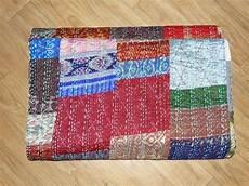 handmade vintage kantha quilt patola indian silk sari