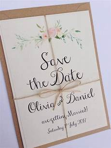 Wedding Save The Date And Invitations Rustic Floral Save The Date Wedding Invitation