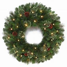 Outdoor Christmas Wreaths With Led Lights Holiday Living 30 In Pre Lit Indoor Outdoor Battery
