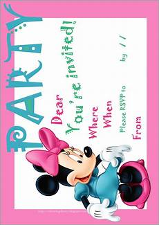 Minnie Mouse Birthday Invitations Free Disney Coloring Pages