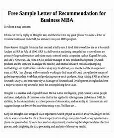 Letters Of Recommendation For Mba Free 7 Sample Mba Recommendation Letter Templates In Pdf