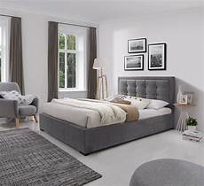 duke upholstered platform bed in grey fabric by j m
