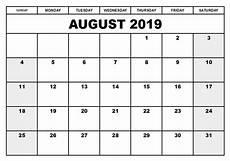 Calendar August Printable 2019 August Calendar Word Template Net Market