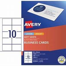 Avery Business Cards 10 Per Sheet Avery Business Cards Matt White 100 Sheets 10 Per Page