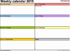 Planning Calendar Template 2015 Weekly Calendars 2015 For Excel 12 Free Printable Templates