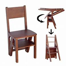 solid wood step stool folding 4 tier ladder chair bench