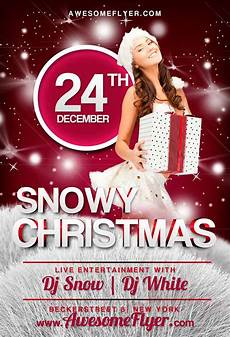 Free Christmas Flyer Psd Free Snowy Christmas Flyer Template Awesomeflyer Com