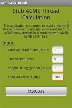 Acme Hitch Application Chart Stub Acme Thread Calculation For Android Apk Download