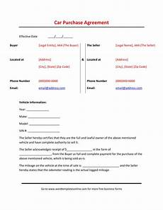 Vehicle Purchase Agreement Form 42 Printable Vehicle Purchase Agreement Templates ᐅ