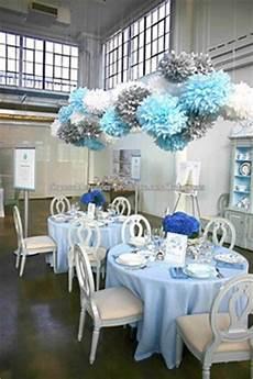 new blue silver white tissue paper pom poms dessert tables