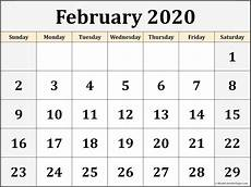 Monthly 2020 Calendar Printable February 2020 Calendar Free Printable Monthly Calendars